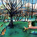 Sunbathing with Friends Print by Mindy Newman