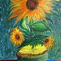 sunflower in a vase Print by PRASENJIT DHAR