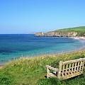 Sunny Day At Thurlestone Beach Print by Photo by Andrew Boxall