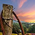 Sunrise Lasso Print by Debra and Dave Vanderlaan