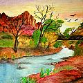 Sunset in Zion Poster by Joanna Aud