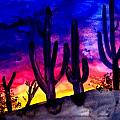 Sunset On Cactus Print by Mike Grubb