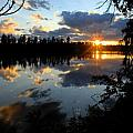 Sunset on Polly Lake Print by Larry Ricker