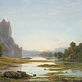 Sunset over a River Landscape Poster by Francis Danby