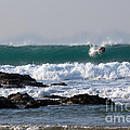 Surfing in Cornwall Print by Brian Roscorla