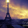 Surreal Fantasy Paris Eiffel Tower Sunset Sky Scene Print by Kathy Fornal