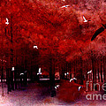 Surreal Fantasy Red Woodlands With Birds Seagull Print by Kathy Fornal