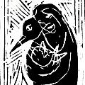Swan and Human Mothers Print by Anon Artist