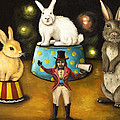 Taming Of The Giant Bunnies Poster by Leah Saulnier The Painting Maniac