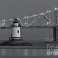 Tarrytown Lighthouse and Tappan Zee Bridge at Twilight II Poster by Clarence Holmes