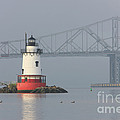 Tarrytown Lighthouse and Tappan Zee Bridge I Poster by Clarence Holmes