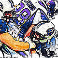 Tennessee Titans Karl Klug and Chris Hope and Minnesota Vikings Adrian Peterson Poster by Jack K
