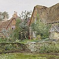 Thatched Cottages and Cottage Gardens Print by John Fulleylove