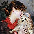 The actress Rejane and her dog Print by Giovanni Boldini