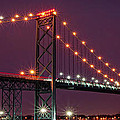 The Ambassador Bridge at Night - USA To Canada Poster by Gordon Dean II
