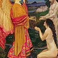 The Angel offering the fruits of the Garden of Eden to Adam and Eve Print by JBL Shaw