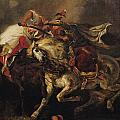 The Battle of Giaour and Hassan Print by Ferdinand Victor Eugene Delacroix