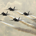 The Blue Angels Perform Their Delta Print by Stocktrek Images