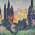 The Cypresses at Cagnes Print by Henri-Edmond Cross