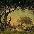 The Edge of the Forest at Fontainebleau Print by Theodore Rousseau