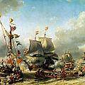 The Embarkation of Ruyter and William de Witt in 1667 Poster by Louis Eugene Gabriel Isabey