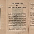 The Fight For Birth Control, A Pamphlet Poster by Everett