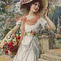 The Flower Girl Print by Emile Vernon