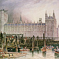 The Houses of Parliament in Course of Erection Poster by John Wilson Carmichael