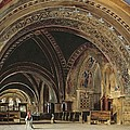 The Interior of the Lower Basilica of St. Francis of Assisi Poster by Thomas Hartley Cromek