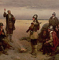 The Landing of the Pilgrim Fathers Print by George Henry Boughton