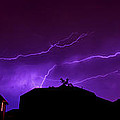The Lightning Over Avery Neighborhood Print by Lisa  Spencer