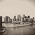 The New York City Skyline and the Brooklyn Bridge Poster by Vivienne Gucwa