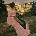 The Pink Dress Print by Jean Frederic Bazille