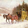 The Post Coach in the Snow Print by Fritz van der Venne