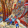 THE RED STAIRCASE PAINTING BY MONTREAL STREETSCENE ARTIST CAROLE SPANDAU Print by CAROLE SPANDAU