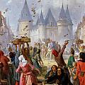 The Return of Saint Louis Blanche of Castille to Notre Dame Paris Poster by Pierre Charles Marquis