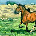 The running horse Print by Odon Czintos