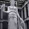 The Statue of Athena BW Print by Linda Phelps