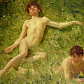 The Sunbathers Print by Henry Scott Tuke