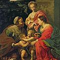 The Virgin and Child with Saints Print by Simon Vouet