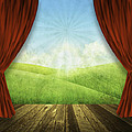 theater stage with red curtains and nature background  Poster by Setsiri Silapasuwanchai