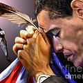 They Shall Mount Up with Wings Like Eagles -  President Obama  Print by Reggie Duffie