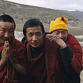 Three Buddhist Lamas In Gansu Province Print by David Edwards
