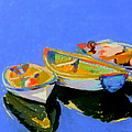 Three Colourful Boats Print by Sue Gardner
