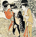 Three girls paddling in a river Poster by Kitagawa Utamaro