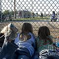 Three girls watching ball game behind home plate Poster by Christopher Purcell