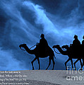 Three Kings Travel by the Star of Bethlehem - Midnight with Caption Print by Gary Avey