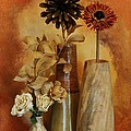 Three Vases of Dried Flowers Poster by Marsha Heiken