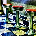 Three White Steamer Stools Poster by Julie Dant