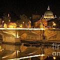 Tiber River and Ponte Vittorio Emanuele II bridge with St. Peter's Basilica. Vatican City. Rome Poster by Bernard Jaubert